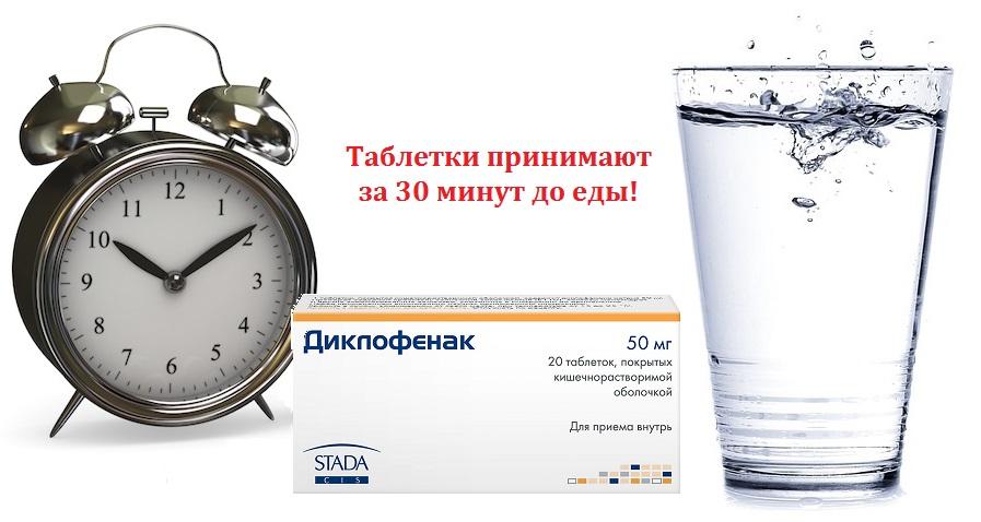 таблетки принимают за 30 минут до еды